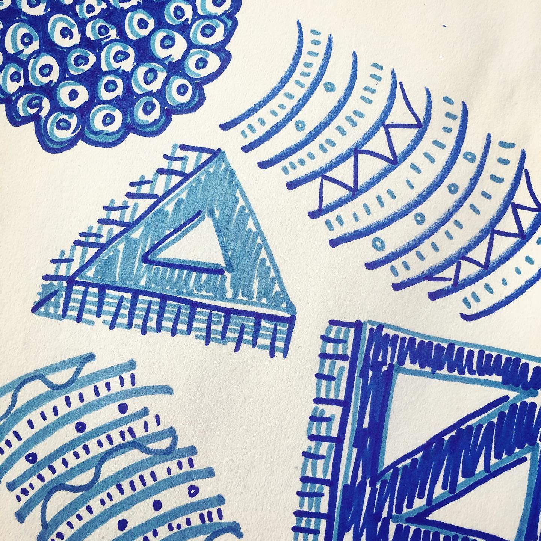 desk doodles in blue