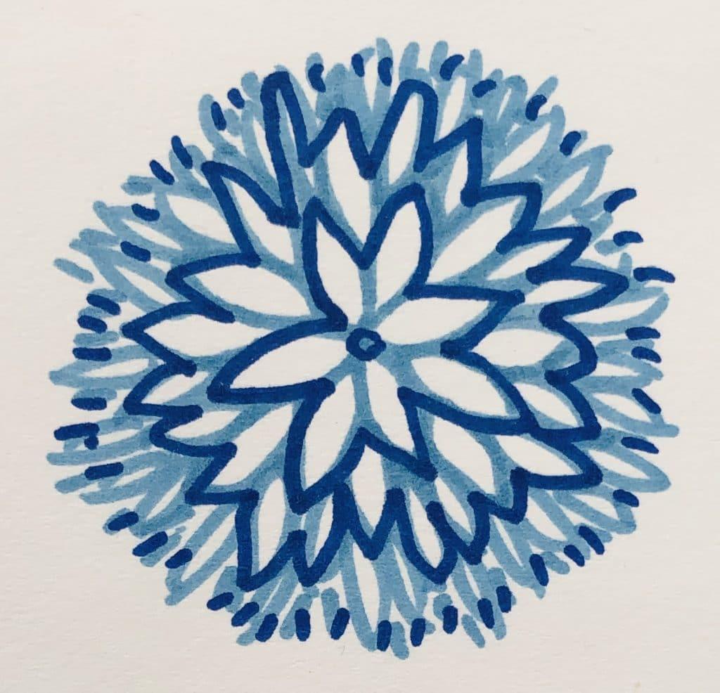 blue doodle flower