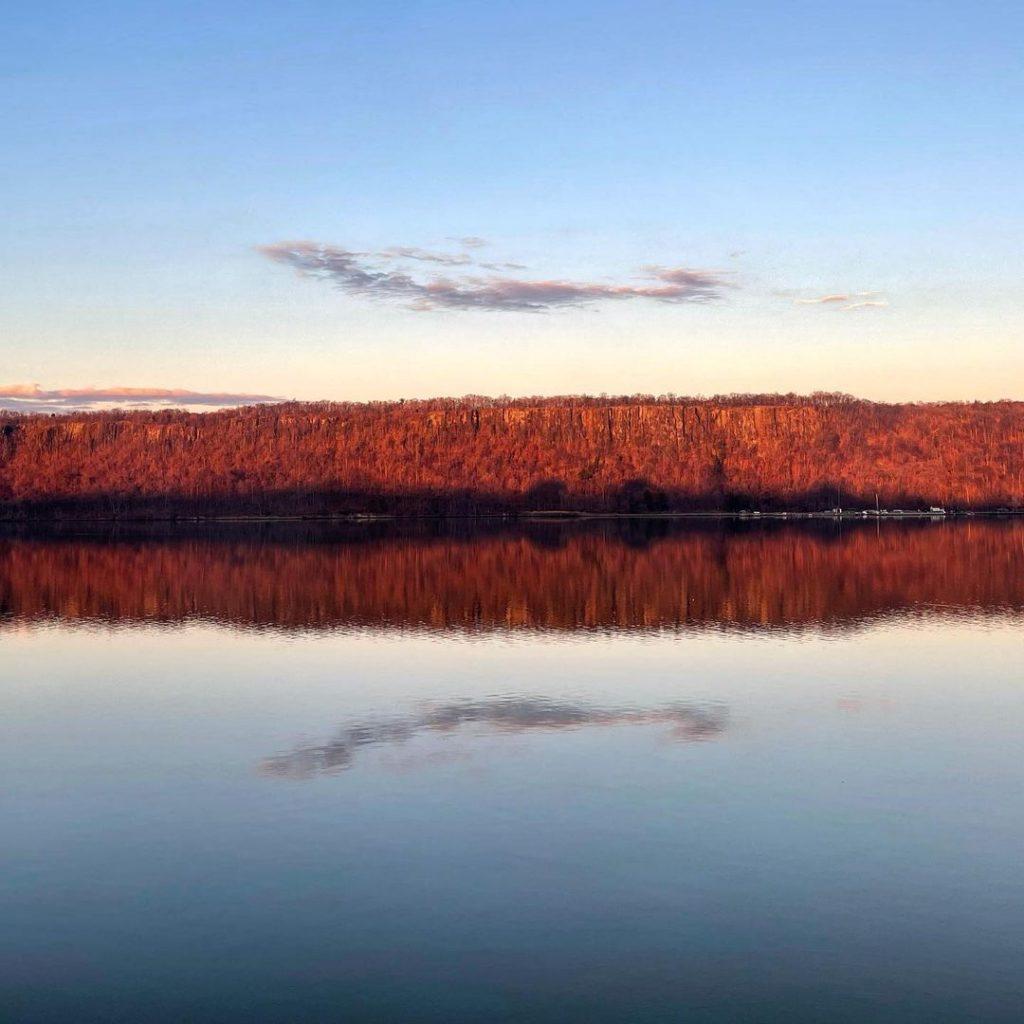 Water reflecting sunrise on Hudson River